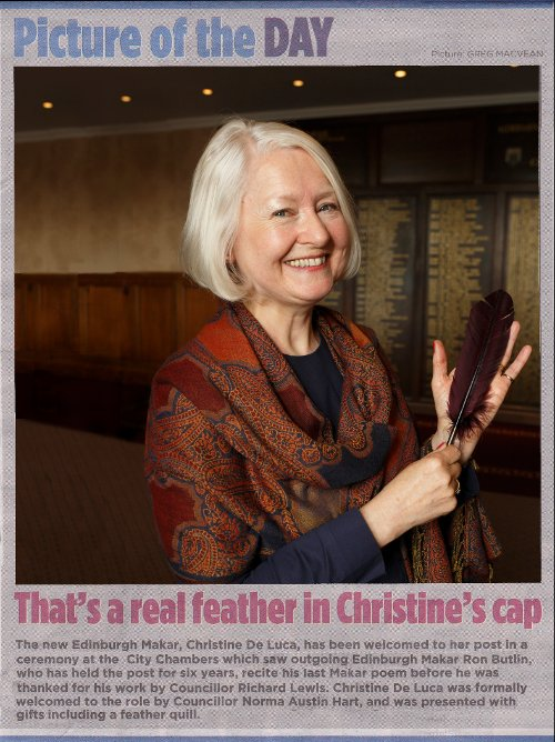 Christine De Luca's appointment as Makar in the Edinburgh Evening News, 28th June 2014